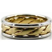 14K Gold Two Tone 6.5mm Handmade Wedding Band Center Braid 008