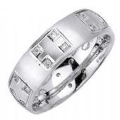 14K Gold Princess Cut Bezel Set 7mm Comfort Fit Diamond Band 1.25ctw 1162