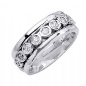 14K Gold Round Brilliant Bezel Set 8.5mm Comfort Fit Diamond Band 1.65ctw 1168