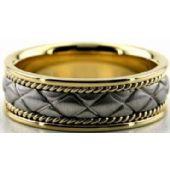 14k Gold Two Tone 7mm Handmade Wedding Band X Design 015