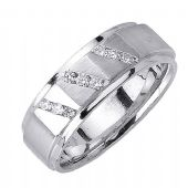 14K Gold Round Brilliant Channel Set 8mm Comfort Fit Diamond Band 1211 (0.18ctw)