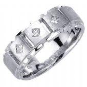 14K Gold Princess Cut Bezel Set 7mm Comfort Fit Diamond Band 0.21ctw 1192