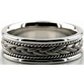 14k White Gold 7mm Handmade Wedding Band Braid Design 003