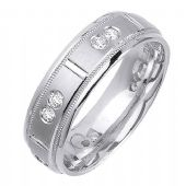 14k Gold Round Brilliant Bezel Set 7mm Comfort Fit Diamond Band 0.48ctw 1203