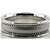14k White Gold 7mm Handmade Wedding Band Rope Design 002