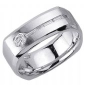 14k Gold Round Brilliant, Baguette 8mm Comfort Fit Diamond Band 0.55ctw 1219
