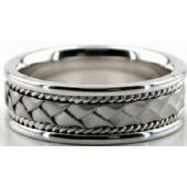 14k White Gold 7mm Handmade Wedding Band Braid and Rope Design 006