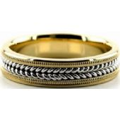 14k Gold Two Tone 6mm Handmade Wedding Band Milgrain and Rope Design 035