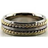 14k Gold Two Tone 7mm Handmade Wedding Band Rope Design 016