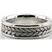 14k White Gold 6.5mm Handmade Wedding Band Braid Design 017