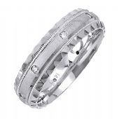 18K Gold 6mm Comfort Fit Contemporary Diamond Band 0.16ctw 1146