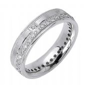 18K Gold Round Brilliant 7mm Comfort Fit Contemporary Diamond Band 1169 (1.32ctw)