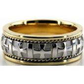 14k Gold Two Tone 8mm Handmade Wedding Band Cross Design 036