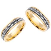 18K Gold 6mm Handmade Two Tone His and Hers Wedding Bands Set 165