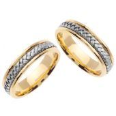 950 Platinum & 18K Gold 5.5mm Handmade Two Tone His and Hers Wedding Bands Set 167