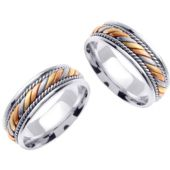 950 Platinum & 18K Gold 7mm Handmade Tri-Color His and Hers Wedding Bands Set 168