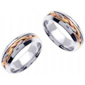 18K Gold 7mm Handmade Tri-Color Braid His and Hers Wedding Bands Set 184