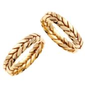 18K Gold 6mm Handmade Braid His and Hers Wedding Bands Set 189