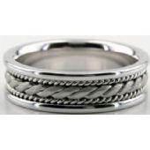 18k White Gold 6.5mm Handmade Wedding Band Rope Design 005