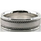 18k White Gold 7mm Handmade Wedding Band Wave Design 001