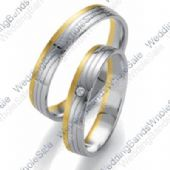 950 Platinum and 18k Gold His & Hers Two Tone 0.04ctw Diamond Wedding Band Set 230