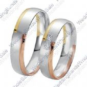 950 Platinum and 18k Gold 6mm 0.15ct Tri-Color His and Hers Wedding Rings Set 231