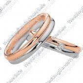 14k Rose & White Gold His & Hers Two Tone 0.04ctw Diamond Wedding Band Set 232