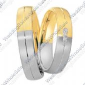 950 Platinum and 18k Yellow Gold 6mm 0.16ct Two Tone His and Hers Wedding Rings Set 233