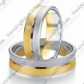 950 Platinum and 18k Yellow Gold 7mm Flat 0.03ct His & Hers Wedding Rings Set 234