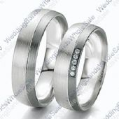 18k White Gold 6mm 0.10ct His and Hers Wedding Rings Set 236