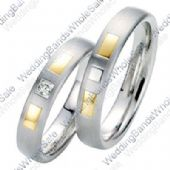 18k Gold 5mm Geometric His & Hers Two Tone 0.05ctw Diamond Wedding Band Set 237
