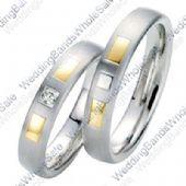 950 Platinum and 18k Gold 5mm Geometric His & Hers Two Tone 0.05ctw Diamond Wedding Band Set 237