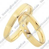 18k Yellow Gold His & Hers 0.075ctw Diamond Wedding Band Set 240