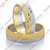 14k White & Yellow Gold 7mm Flat 0.03ct His & Hers Wedding Rings Set 241