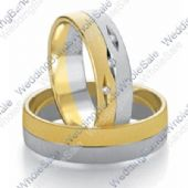 18k White & Yellow Gold 7mm Flat 0.03ct His & Hers Wedding Rings Set 241