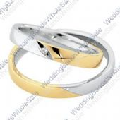 18k White & Yellow Gold 4mm Flat 0.01ct His & Hers Wedding Rings Set 242