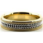 18k Gold Two Tone 6mm Handmade Wedding Band Milgrain and Rope Design 035