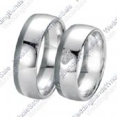 14k White Gold Heart 6mm 0.10ct His and Hers Wedding Rings Set 245