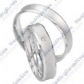 950 Platinum 5mm His & Hers 0.02ctw Diamond Wedding Band Set 247