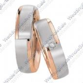 14k White and Rose Gold 6mm 0.05ct His and Hers Wedding Rings Set 248