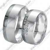 18k White Gold 7mm 0.16ct His & Hers Wedding Rings Set 249