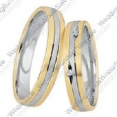 18k Yellow and White Gold 5mm His & Hers Two Tone 0.05ctw Diamond Wedding Band Set 252