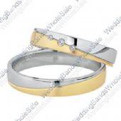 18k Yellow & White Gold His & Hers Two Tone 0.06ctw Diamond Wedding Band Set 253