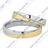 950 Platinum and 18k Yellow Gold His & Hers Two Tone 0.06ctw Diamond Wedding Band Set 253