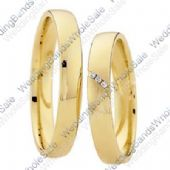 18k Yellow Gold 4mm Flat 0.01ct His & Hers Wedding Rings Set 246
