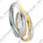 18k Yellow & White Gold 4mm 0.03ct His & Hers Wedding Rings Set 256