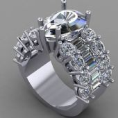 950 Platinum Diamond Anniversary Wedding Ring 5 Round Brilliant Diamonds 1.00 ctw. CUSTOM