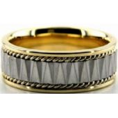 18k Gold Two Tone 8mm Handmade Wedding Band Rope Design 033
