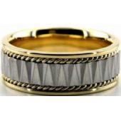 18k Gold Two Tone 8mm Handmade Wedding Band Rope Design 033