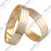 18k White and Yellow Gold Two-Tone 6mm His and Hers Wedding Rings Set 257